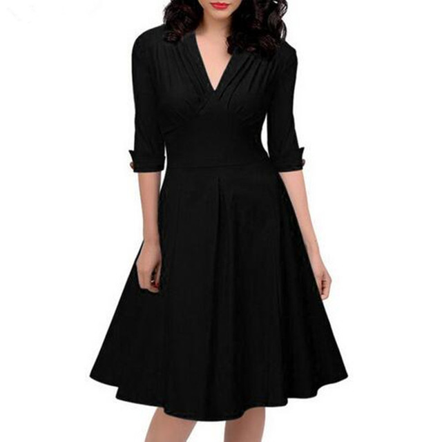 0c2d32e8c1 Women Retro Pleated Dresses Audrey Hepburn 50s Draped Plus Size Vintage  Dresses Summer 3/4