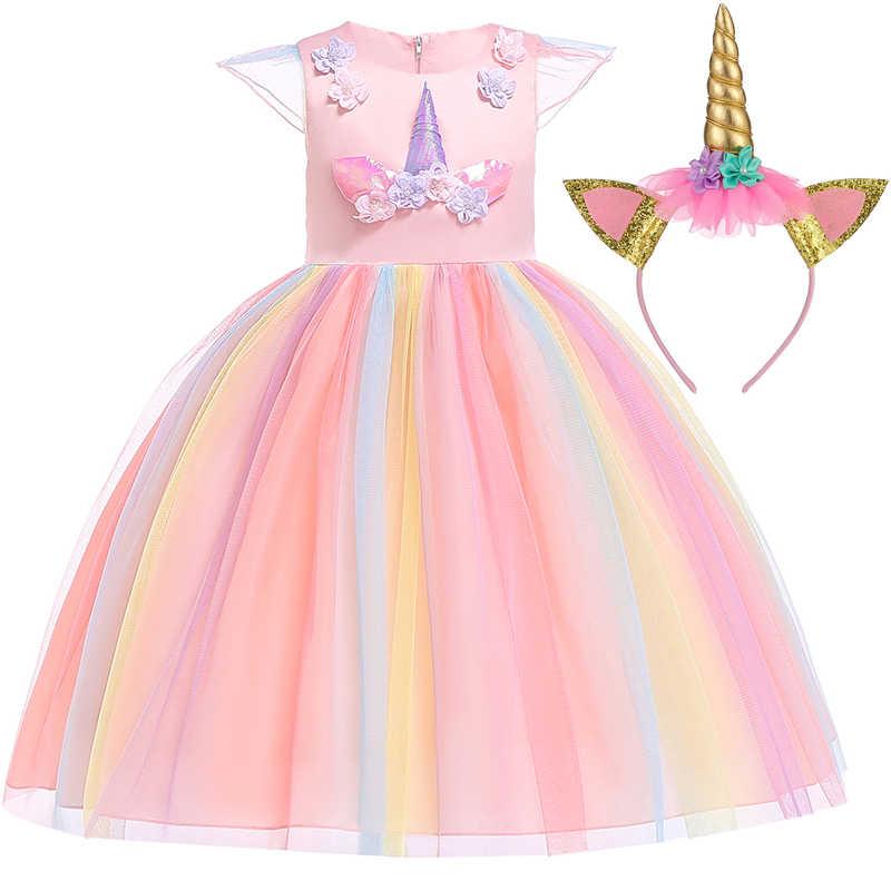 Nuevo 2018 Unicornio Vestido Fiesta Carnaval Disfraz Niñas Vestido Cumpleaños Niños Vestidos Para Niñas Niños Ropa Princesa 3 6 10 Año
