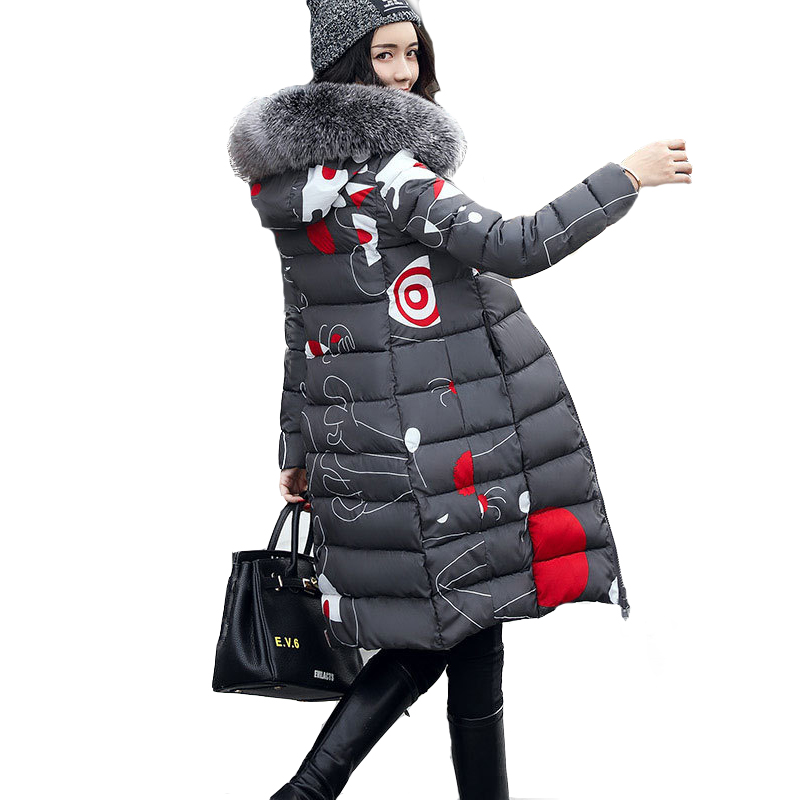 New 2017 Winter Coat Women Long Cotton Jacket Fur Collar Hooded 2 Sides Wear Outerwear Casual Parka Plus Size Manteau Femme zoe saldana 2017 winter women coat long cotton jacket fur collar hooded letter print outerwear femme casual parka