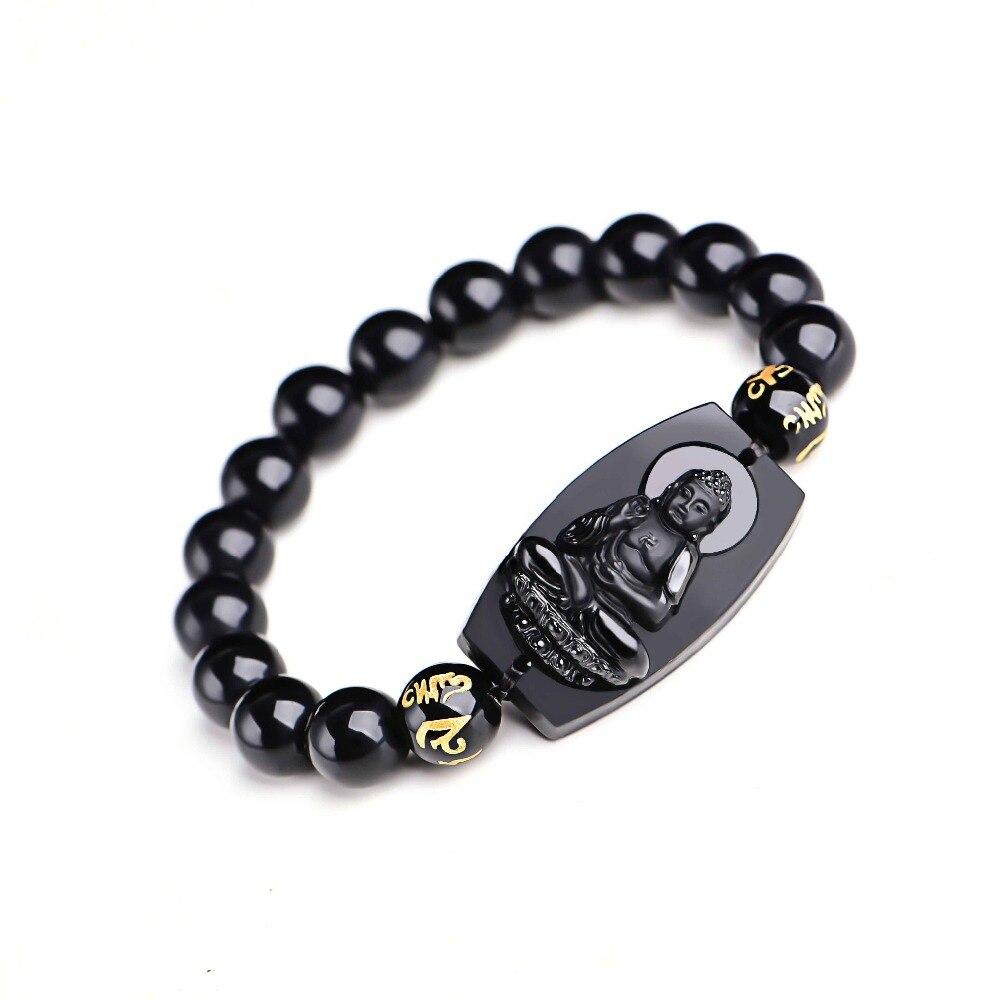 Natural Black Obsidian Buddha Bracelet 5