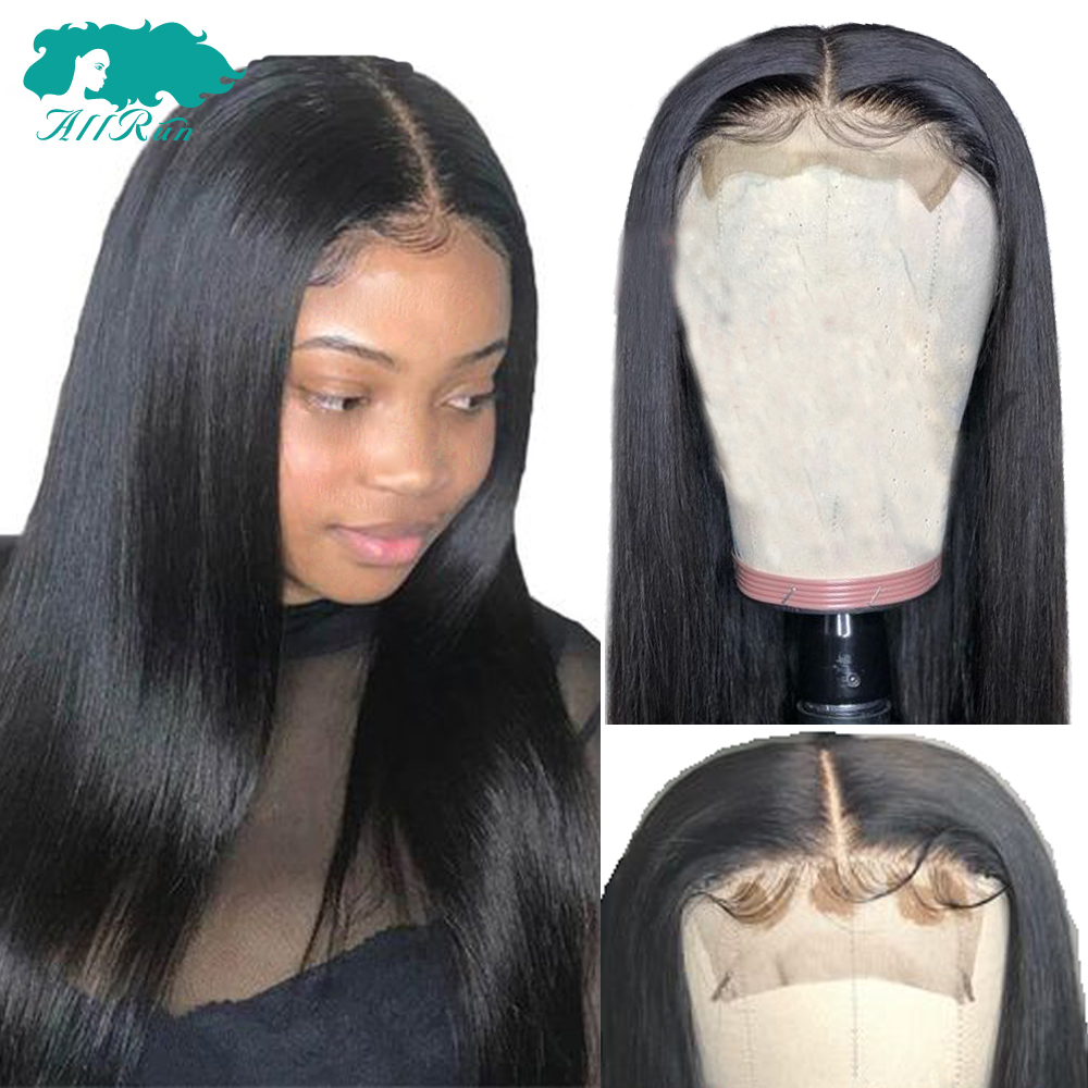 Wigs Lace Closure Human-Hair Allrun Straight Women Brazilian For 44