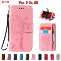 LELOZI Tree Leaf Star Cat Butterfly PU Leather Wallet Girl Case For IPhone 5 5s SE