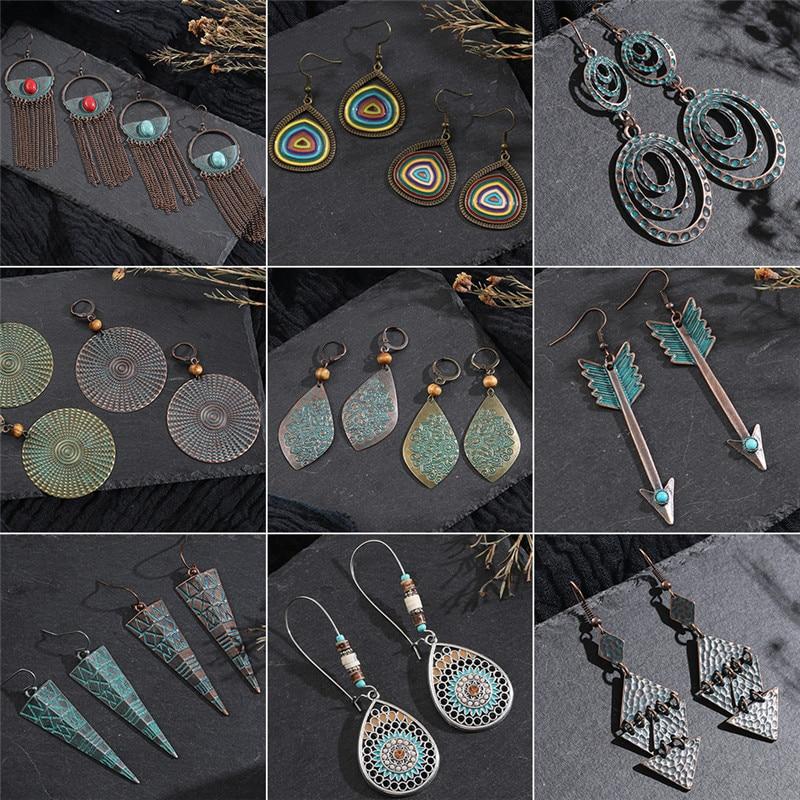 Vintage Bronze Geometric Women's Earrings Jewelry 2020 Long Metal Tassel Fringe African Earrings for Women Big Round Earring