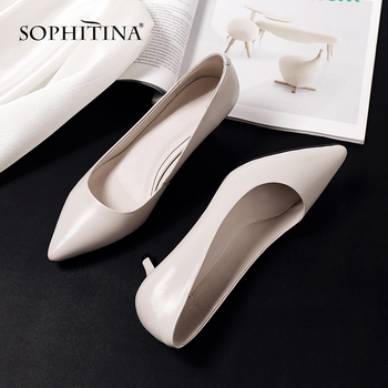 SOPHITINA New Spring Basic Women' s Pumps Genuine Leather Pointed Toe Fashion Party Wedding Sweet Shallow Shoes Mature Pump SO77