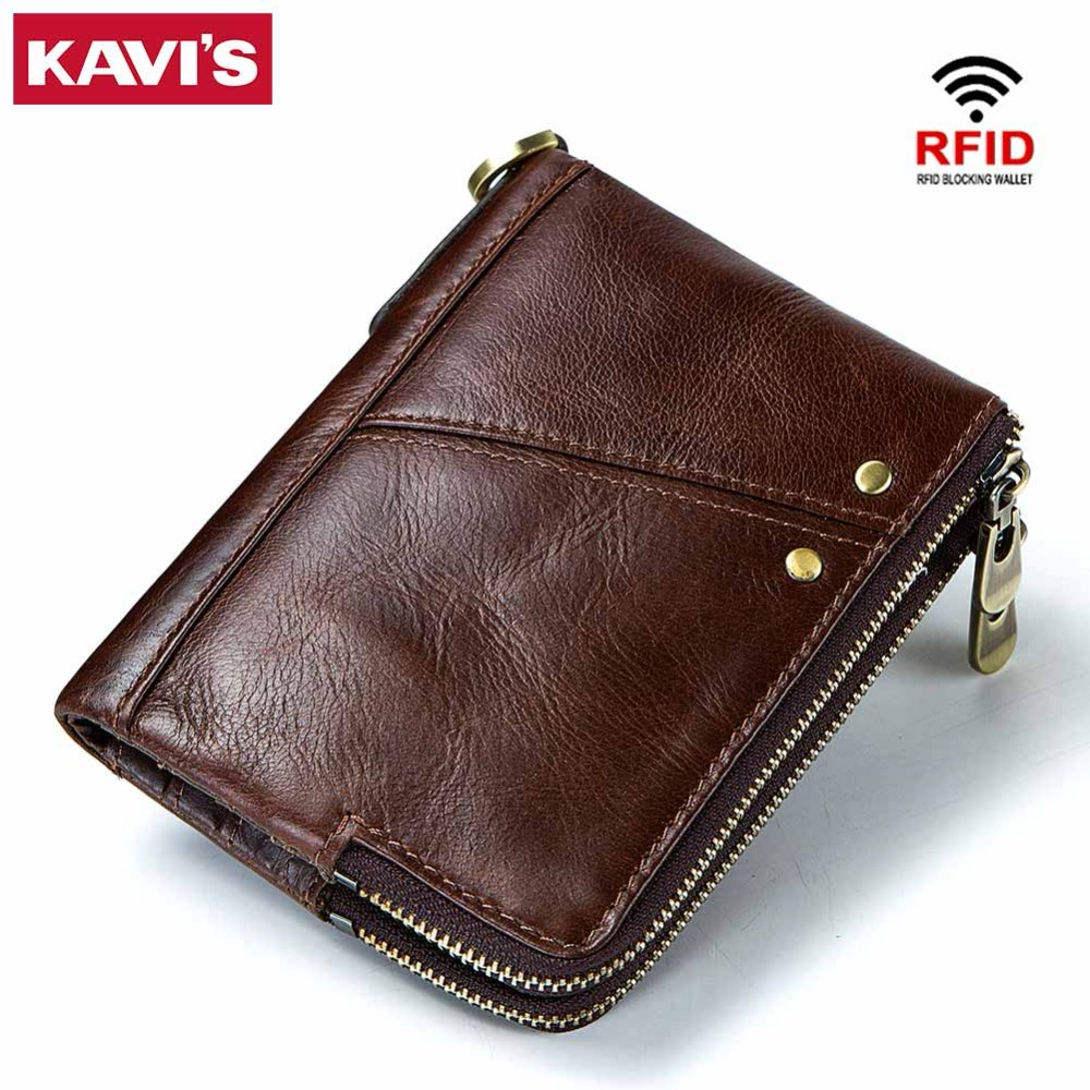 KAVIS Rfid Genuine Leather Wallet Men Small Walet Portomonee Male Cuzdan Mini Coin Purse PORTFOLIO Card Holder Zipper Vallet Boy