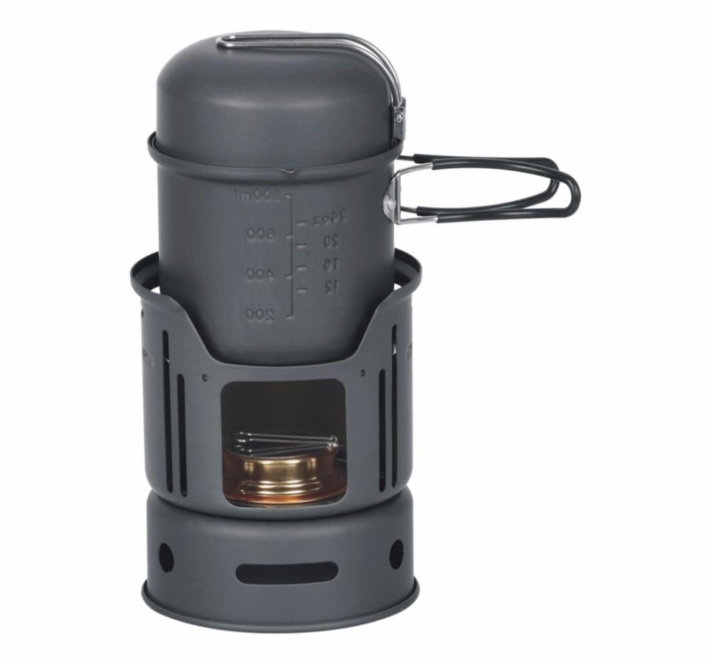 Alocs 1-2 personne camping pot 7 pièces Camping cuire ensemble extérieur Camping ustensiles de cuisine alcool poêle 600g CW-C01