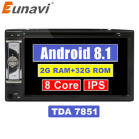 Eunavi Universal Double 2 Din Android 8.1 Car DVD Player Radio Stereo System 2din GPS Navigation WiFi Bluetooth Touch Screen