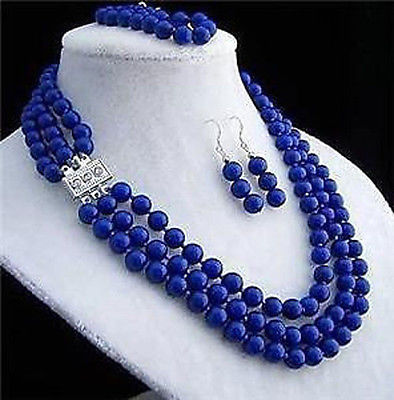 3rows 8mm lapis lazuli necklace bracelet earring sets AAA style 100% Natural Noble Fine jewe