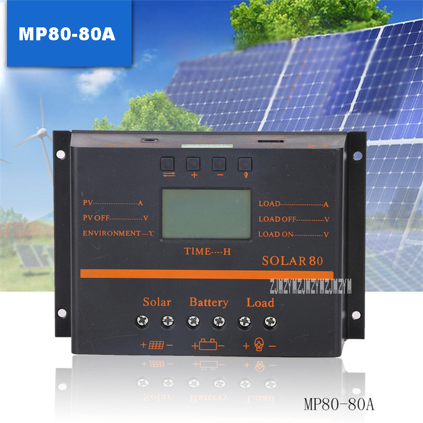 где купить MP80-80A Solar Controller High-quality Home Indoor Photovoltaic Solar Panel Battery Charge And Discharge Controller 12V/24V 80A по лучшей цене