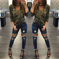 New sexy Women bandage V-neck hollow out camouflage print lady tops shirt lady autumn long sleeve lace up pullover tops blusa