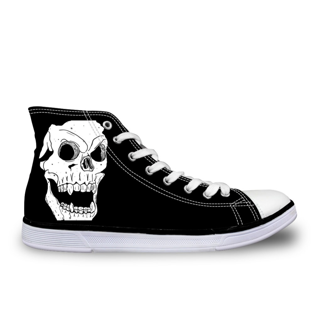 Noisydesigns Classic Men's Punk Rock Skull Style High-top Vulcanize Shoes Casual Lace-up Canvas Shoes forMen Students Flat Shoes 2018 spring canvas shoes flat casual shoes black lace up shoes lovely cat printed women high top canvas female vulcanize shoes