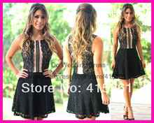2014 New Fashion Black Champagne Lace Scoop Tank Above Knee Short Special Occasion Cocktail Dresses E5631