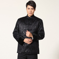 Traditional Chinese Qipao Top Shirt Groom Men Cheongsam Tang Vintage Mens Elder Clothing Jacket Vetement Homme Winter Coat China