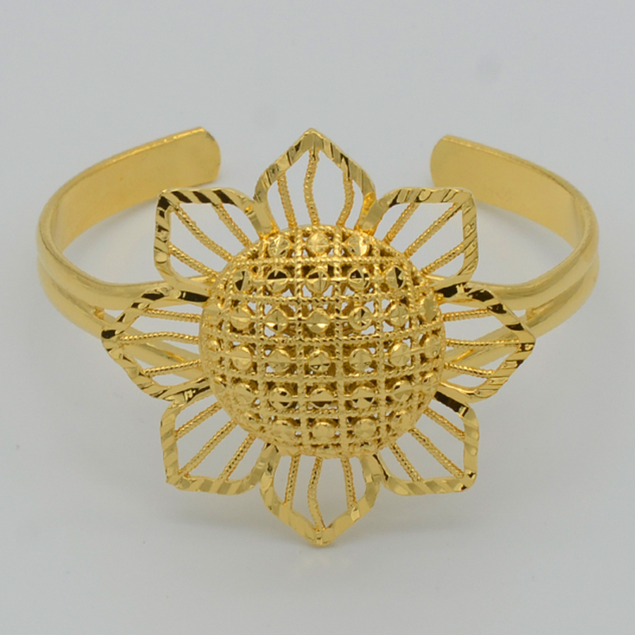 Anniyo Flower Bangle for Women Gold Color Jewelry Woman