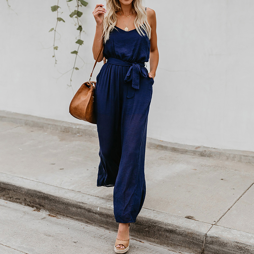 dca46bfbcc55 2018 Summer New Fashion Women Solid Casual jumpsuit Sexy V-Neck Female  Rompers Evening Party