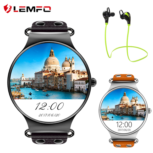 "Lemfo Смарт-часы Android OS 5.1 1.39 ""AMOLED Экран 512 МБ/4 ГБ MTK6580 SmartWatch Поддержка sim-карты GPS Wi-Fi напоминание"