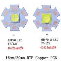 2pcs CREE XHP70 XHP70.2 XHP-70 2 generazione Bianco Freddo Bianco Neutro LED Bianco Caldo Didoes 6V 12V con 16 millimetri 20 millimetri di Rame PCB
