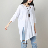 2018 Summer Women Basic T Shirt Cotton Shirts Female Tees Plus Size Literary Solid Color Loose