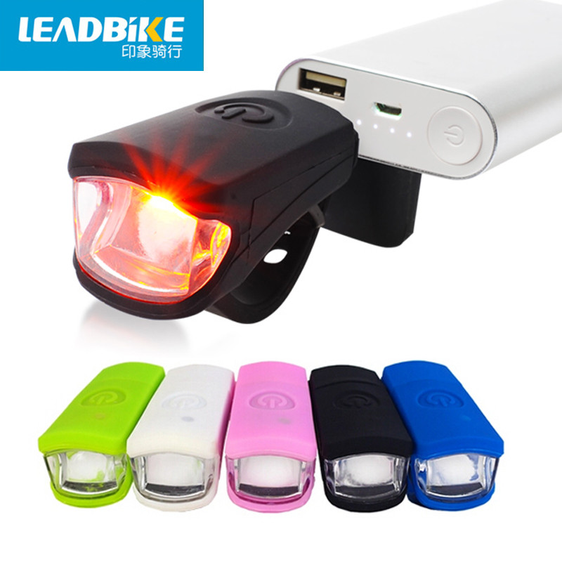 Leadbike USB 충전식 자전거 전면 라이트 3W LED 슈퍼 밝은 방수 실리콘 MTB 도로 자전거 헤드 라이트 사이클링 플래시
