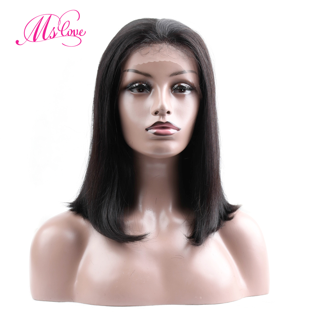 Ms Love Lace Front Short Human Hair Wigs Straight Brazilian Lace Wigs Non Remy Bob Wigs
