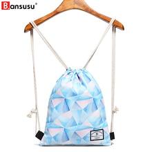 BANSUSU Geometric Printing Women Drawstring Bag Waterproof String Beach Bag For Ladies Travel Storage Package Teenager