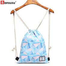 BANSUSU Geometric Printing Women Drawstring Bag Waterproof String Beach Bag For Ladies Travel Storage Package Teenager Backpacks