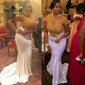 Ouro Rendas Plus Size Mermaid Prom Vestidos Longos Gola Alta Africano branco Vestido de Noite 2017 de Bling Frisado Mangas Curtas Formais vestidos