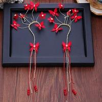 yarn flower ear hanging Chinese Tassel Earrings wedding Xiu dress wedding Earrings oorbellen boucle d'oreille femme 2018 orecchi