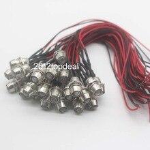 Cable de luz de salpicadero para piloto de indicador LED de Metal, cable de luz de 5mm, 12V, 10 100 Uds.