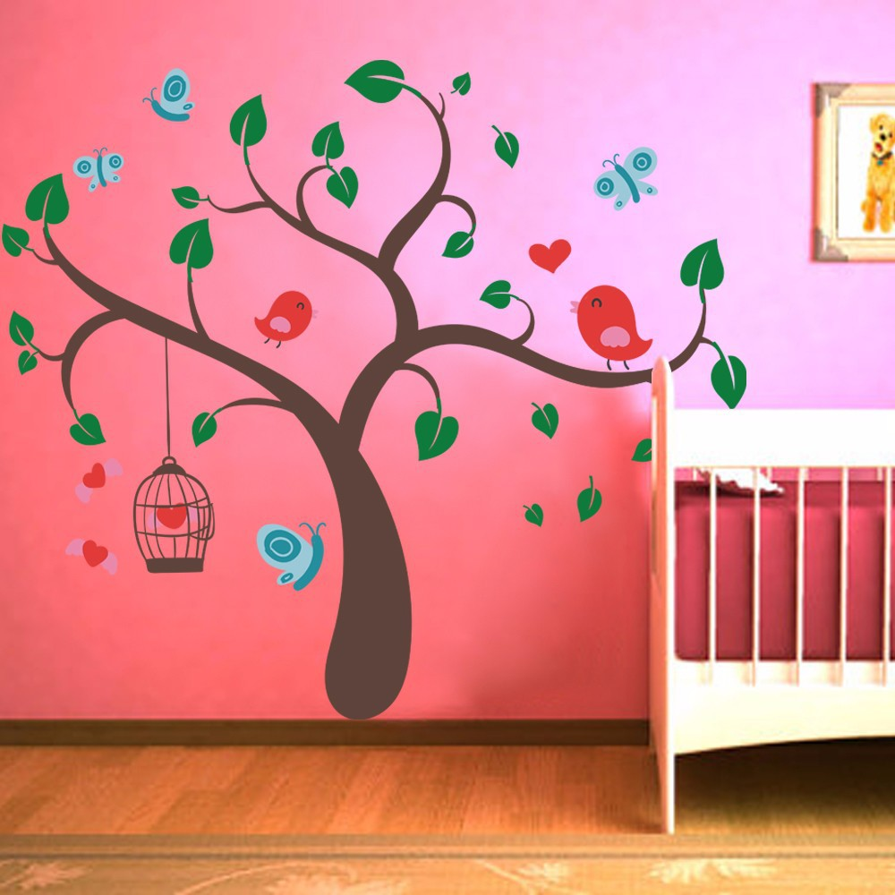 aeProduct. & Children Wall Decals Tree Wall Decals and Butterfly Birds Wall Decal ...