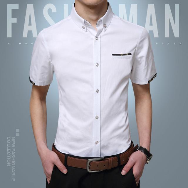 Chemise homme uwback 2017 nova marca de verão plus size 5xl preto/Branco de Manga Curta Camisa Dos Homens de Slim Casual Tops Camisa Dos Homens TA094