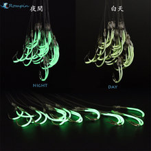 Rompin 2017 New Luminous Fishing hooks Authentic phosphorescent  barbed hook with fishing line