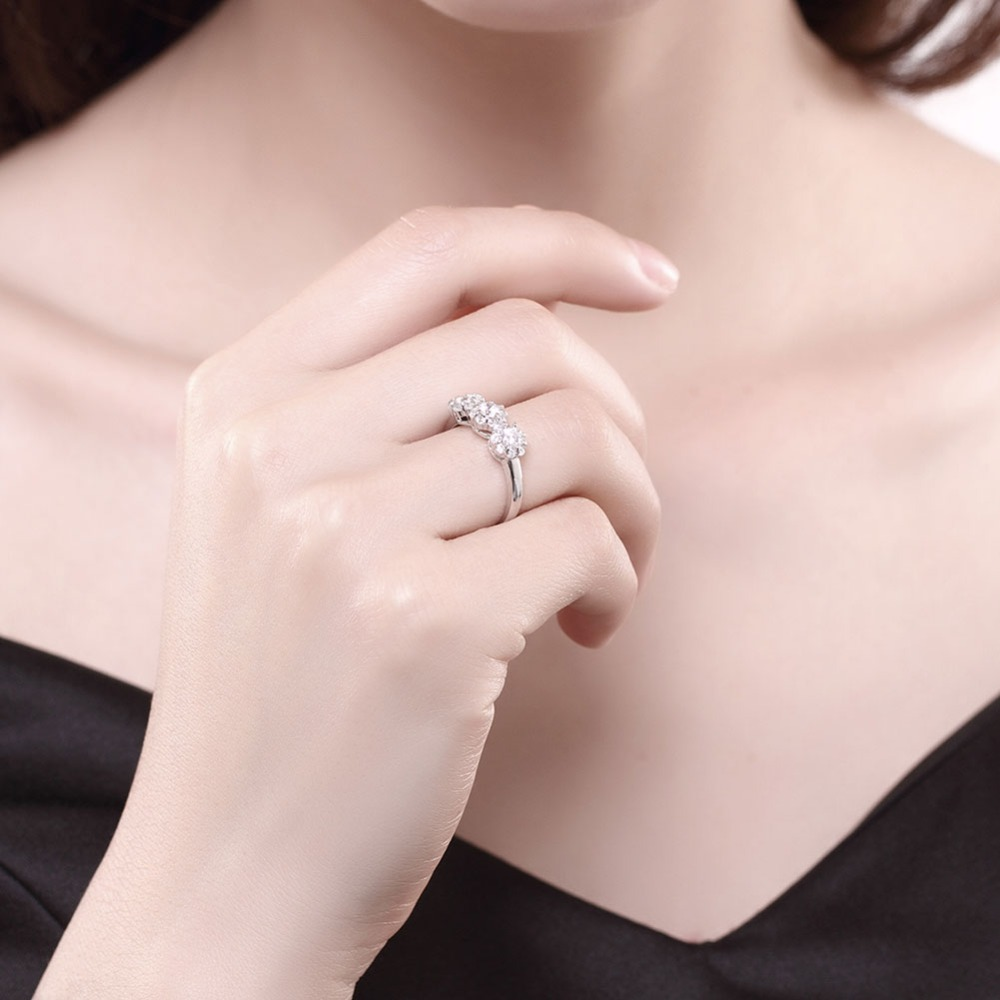 New Collection 925 Sterling Silver flower Finger Ring Set Clear CZ ...
