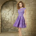 2016 High Neck Lace Cocktail Dresses Lilac Sleeveless Sweet Birthday Dress Short Party Dress Turquoise Homecoming Dresses