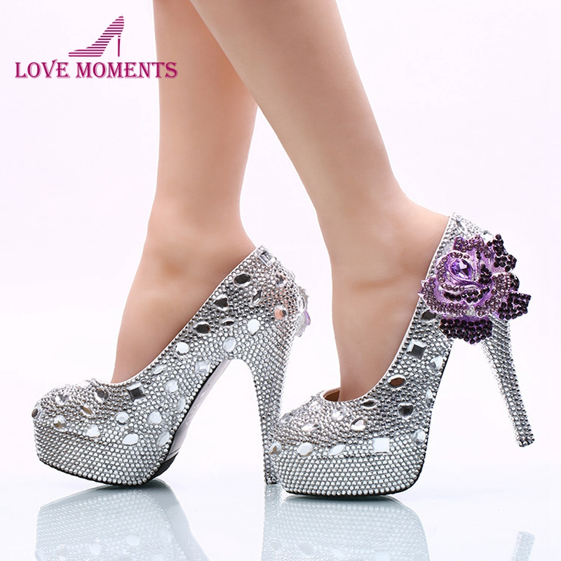 2018 Wedding Ceremony Shoes 14cm High Heel Silver Rhinestone Bridal Dress Shoes with Purple Crystal Flower Party Prom Pumps cinderella high heels crystal wedding shoes 14cm thin heel rhinestone bridal shoes round toe formal occasion prom shoes