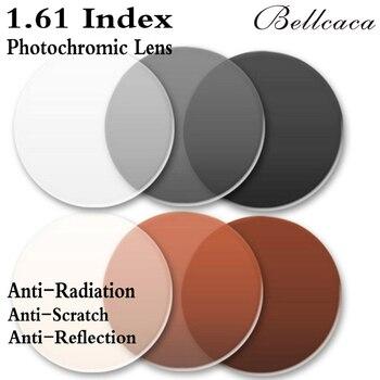 1.61 Index Aspheric Optical Photochromic Prescription Lens CR-39 Myopia Lens Glasses Lens Anti-Radiation Reflection 2 PCS BC006