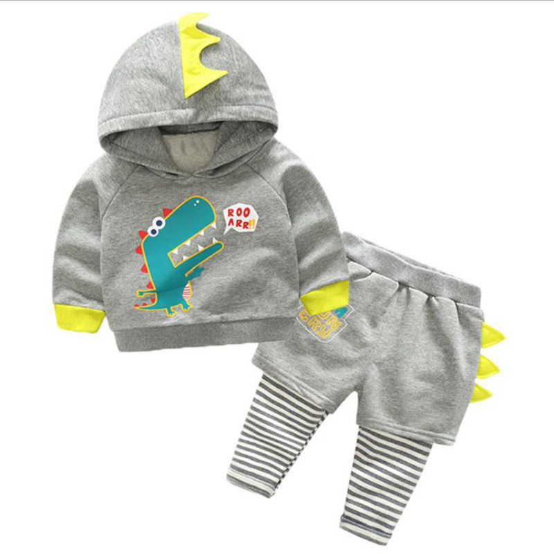 Boys Fashion Children Set Clothing Cartton Crocodile Hooded Suit Casual Kids Coat Pants Kids Clothes Sets Spring And Autumn in Clothing Sets from Mother Kids