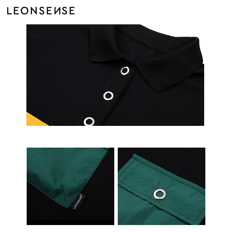 LEONSENSE Brand 2019 New Shirts Men 4 pockets Spring summer Breathable Cotton Shirt Men s Short sleeve Casual High street in Polo from Men 39 s Clothing