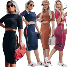 Summer Women 2019 New Fashion Sexy Two Piece Set Top Short T-shirt Dress Ribbon Contrast Tight Hip Two-piece