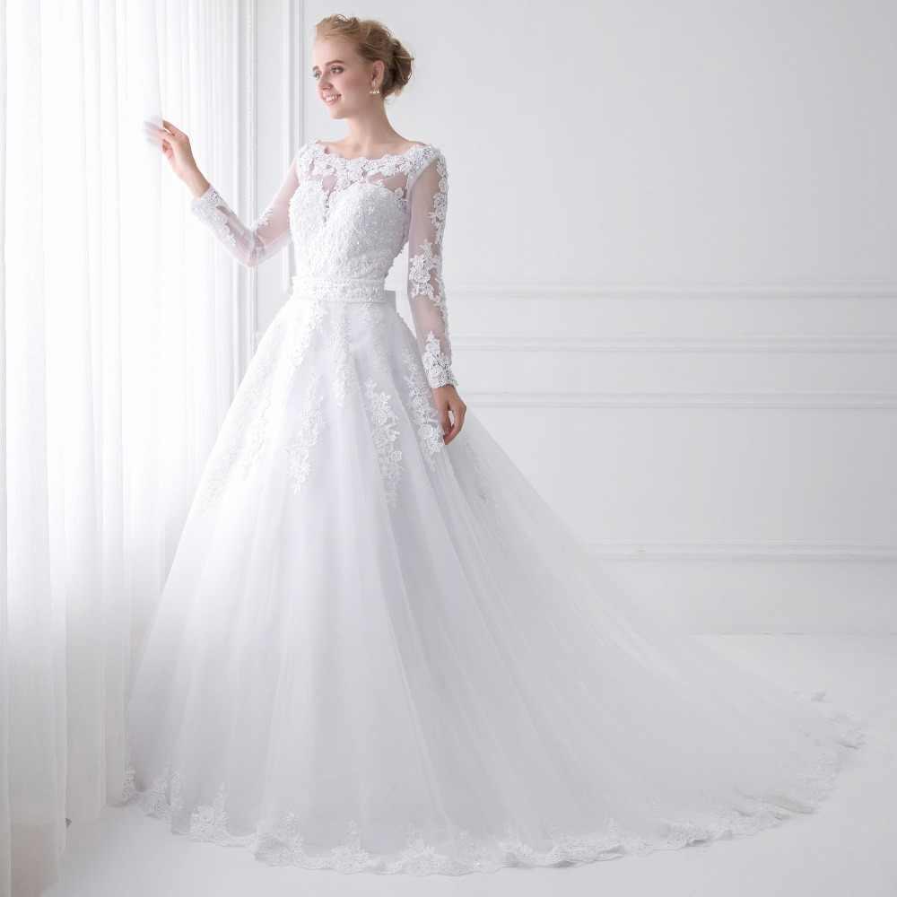 New Arrival Vestido de Noiva 2019 Long Sleeve Wedding Dresses Sheer Tulle Back Sexy Bride Dresses Wedding Gowns Pearls Princess
