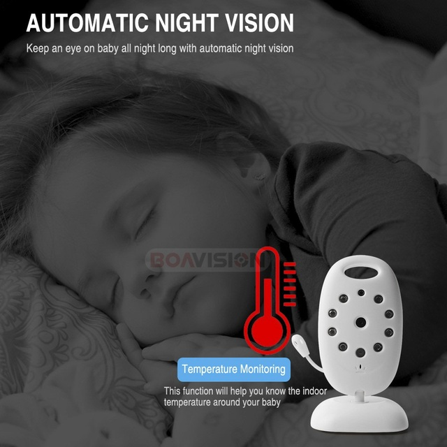 VB601 2.4Ghz Video Baby Monitors Wireless 2.0 Inch LCD Screen 2 Way Talk IR Night Vision Temperature Security Camera 8 Lullabies 4