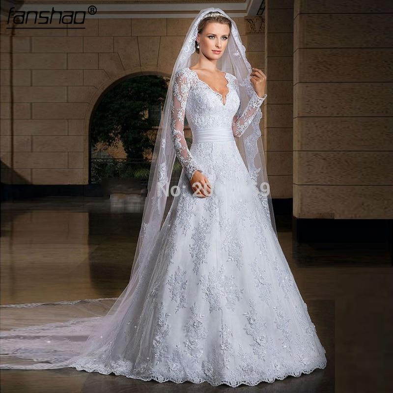 2019 New Arrival Sexy Long Sleeve Wedding Dresses Wedding Custom-Made Bridal Gown Plus Size Vestido De Noiva
