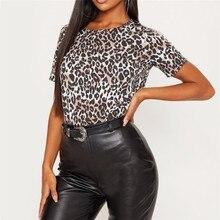 GUMPRUN 2019 Summer New Women Elegant Leopard Print T Shirt Casual Fashion Round Neck Short Sleeve Wide Cotton Women T Shirt casual short sleeve round neck lion print t shirt for women