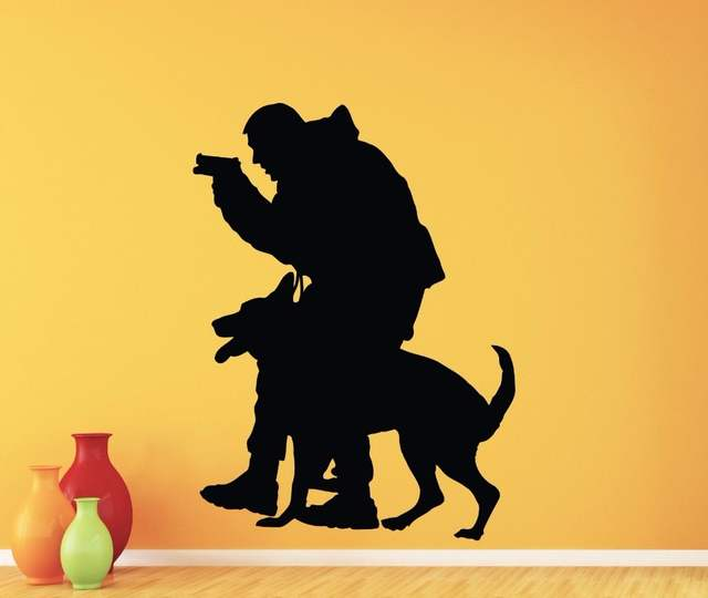 US $12 75 25% OFF|Police Officer K 9 K9 Dog Wall Decal Policeman Vinyl  Sticker Home Interior Kids Room Nursery Decor Removable Mural-in Wall  Stickers