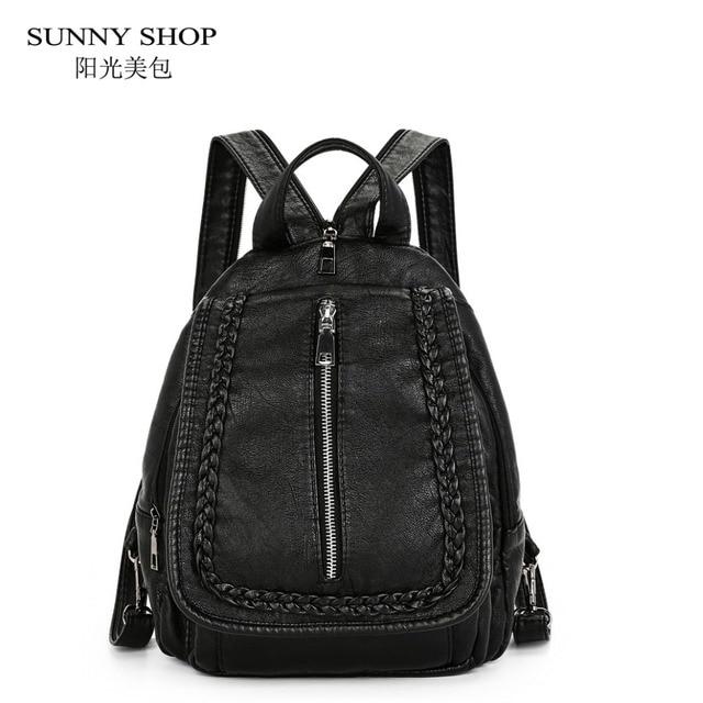 bf8a52c7ce SUNNY SHOP Korean Fashion Bag PU leather Backpack Female Girls School Bags  Cute Little Backpacks Teenagers bagpack Cheap