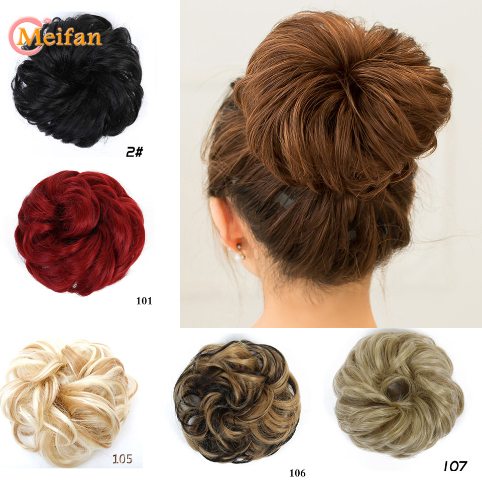 MEIFAN Hot Sale Hair Bun Natural Curly Messy Hair Scrunchies Hair Piece Fake Hair Chignon Wrap For Ponytail Extensions For Women