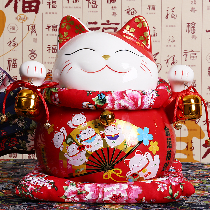 10 pouce En Céramique Maneki Neko Ornement Chanceux Chat Tirelire Fortune Chat Figurine Porcelaine Sculpture Tirelire Cadeau De Mascotte