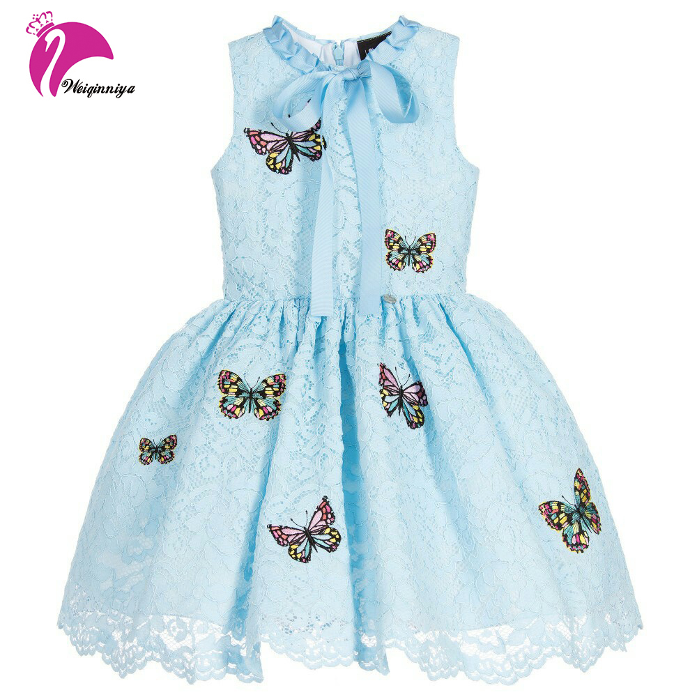 Baby Girls Summer Dress Fashion Print Butterfly Lace Floral Children Dresses Casual Sleeveless Vestido Infantis Kids Clothes Hot girls floral summer dresses baby clothing girl dress print sundress children cotton clothes flower dresses sleeveless dress 4 14