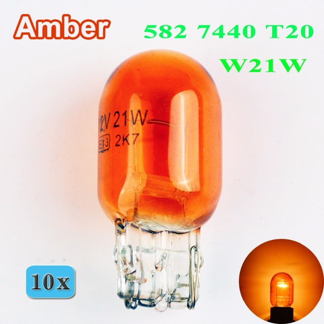flytop 10 x Amber T20 W21W 12V 21W 7440 582 Glass Car Bulb W3x16d Single  Filament