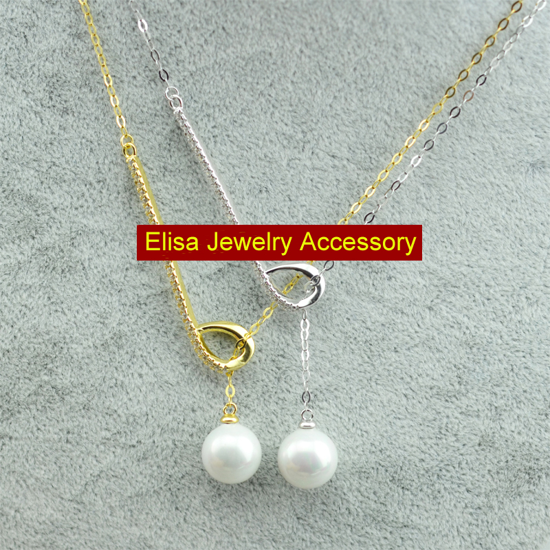 S925 Sterling Silver Elegant Pearl Pendant Necklace Accessory Women DIY Pendant Chain Jewelry Findings Components 3PCS